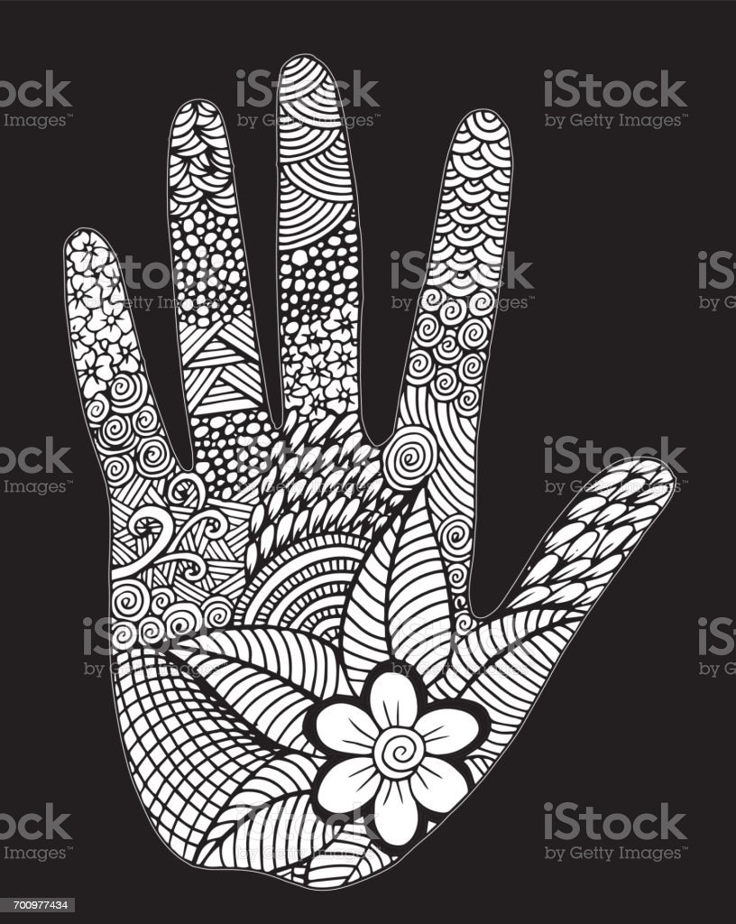 Palm hand drawn - Illustration Human Hand, Abstract, Arts Culture and Entertainment, Backgrounds, Beautiful People vector art illustration