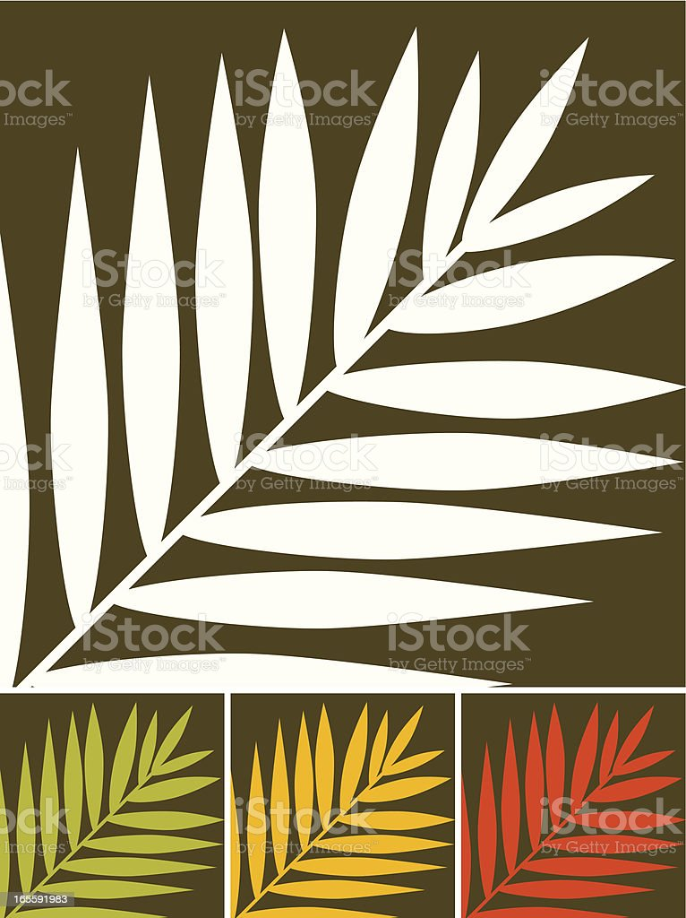 Palm leaves in four different colored variations on brown royalty-free stock vector art