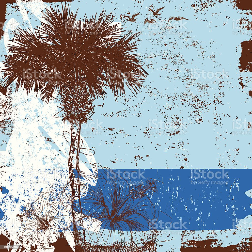 palm tree and hibiscus vector art illustration