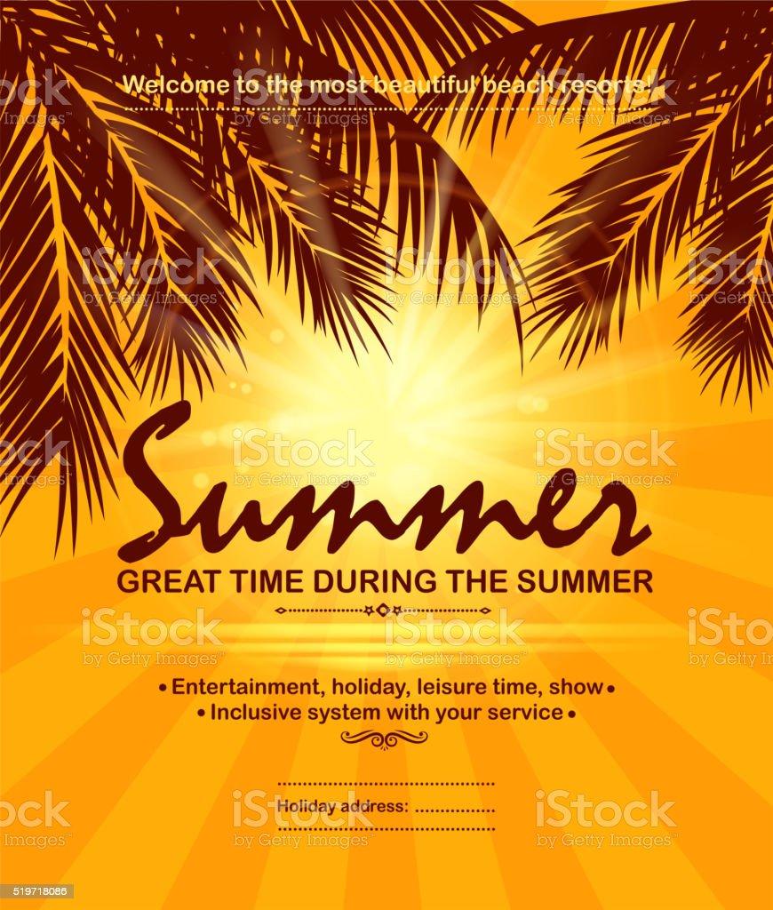 palm tree holiday vector art illustration