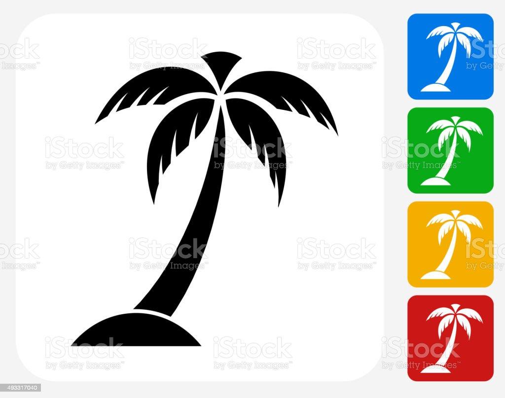 Palm Tree Icon Flat Graphic Design vector art illustration