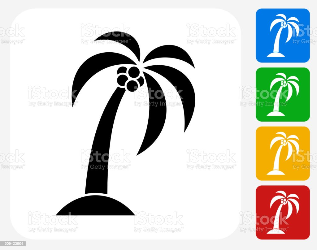 Palm Tree Icon Flat Graphic Design vector art illustration