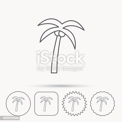 Palm Tree Icon Travel Or Vacation Symbol Stock Vector Art 499959996