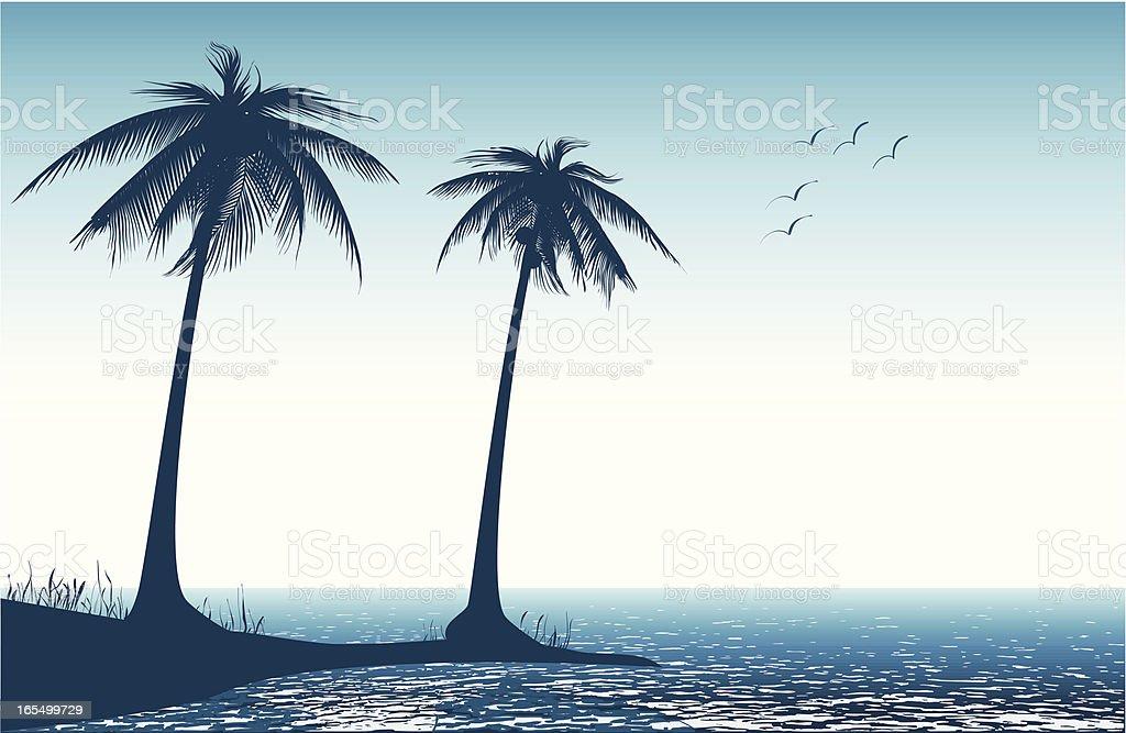 Palm tree on beach - VECTOR vector art illustration