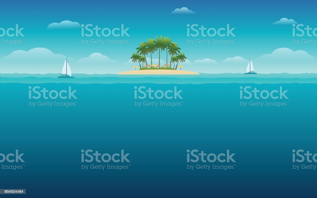 palm tree on island under blue sky background vector art illustration