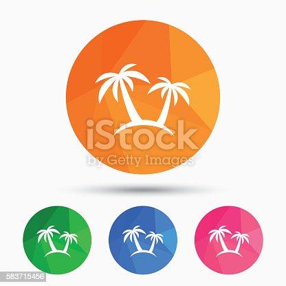 Palm Tree Sign Icon Travel Trip Symbol Stock Vector Art 583715456