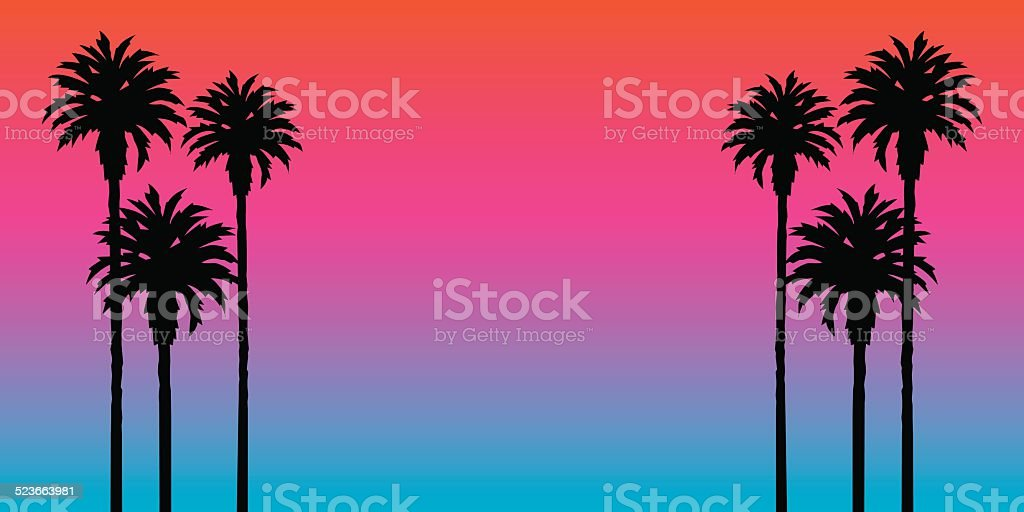 Palm Tree Sunset Background vector art illustration