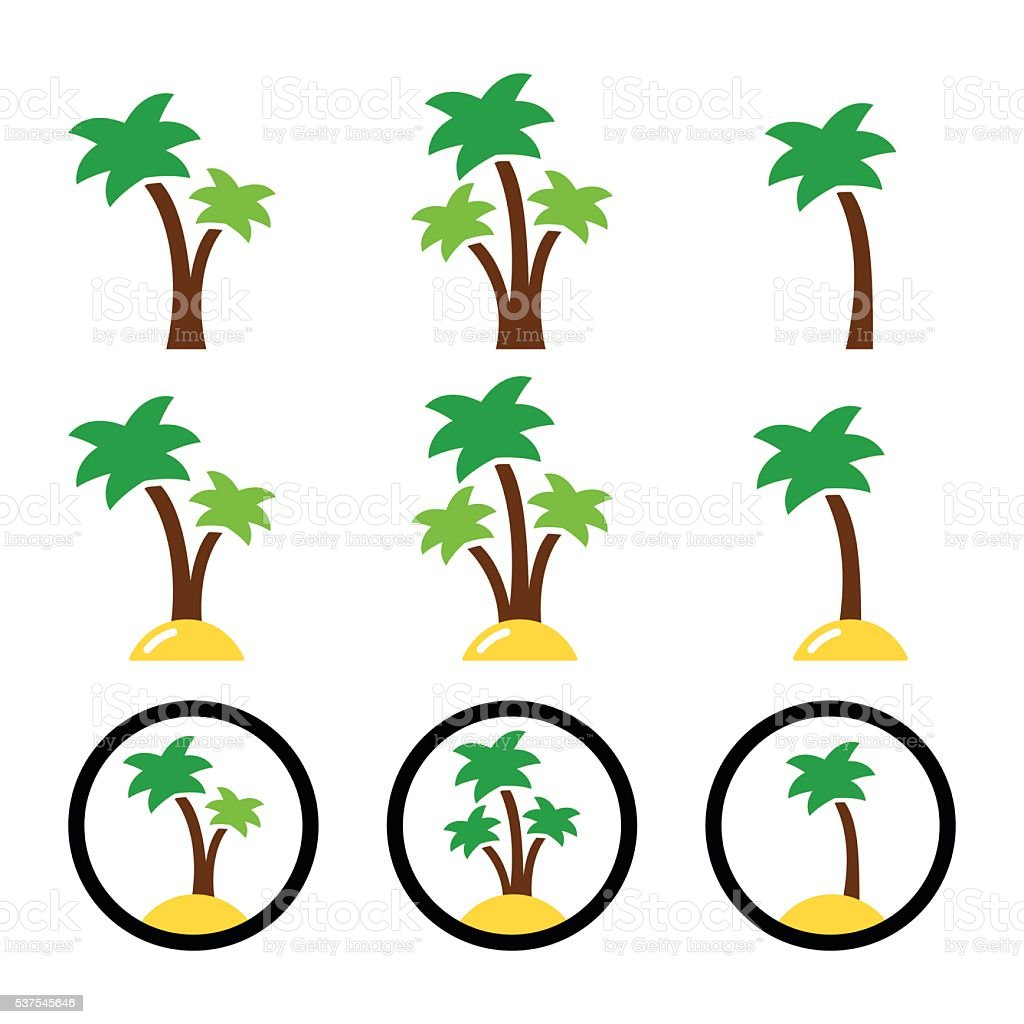 Palm trees, exotic holidays on beach vector icons set vector art illustration
