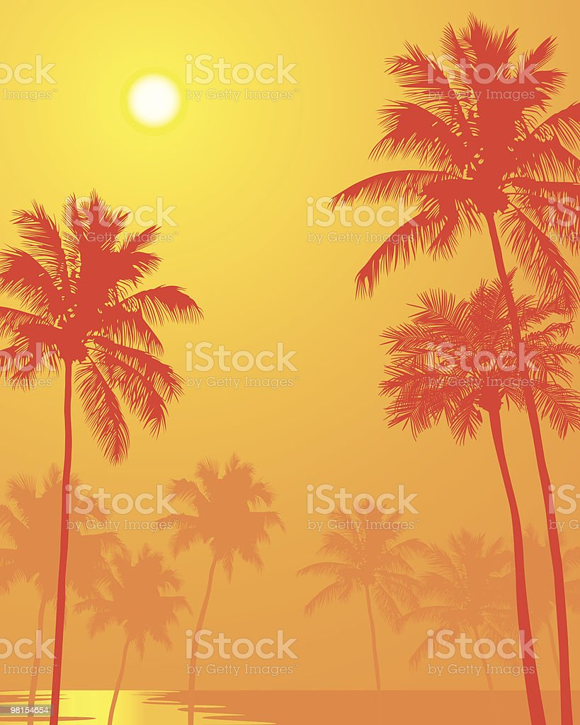 Palm Trees on a Hot Summer Day vector art illustration