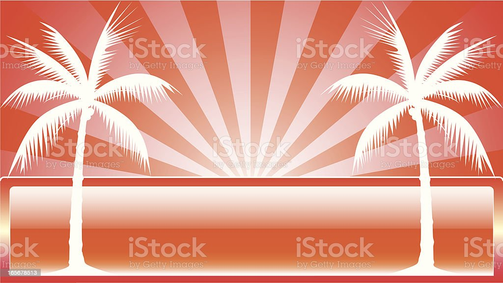 Palm trees on red background - VECTOR royalty-free stock vector art