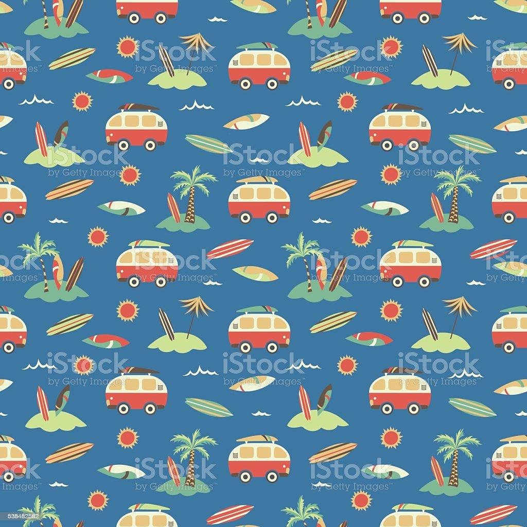 Palm trees + sea + camper vans vintage seamless pattern vector art illustration