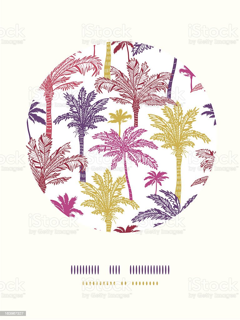 Palm trees seamless circle decor pattern background royalty-free stock vector art