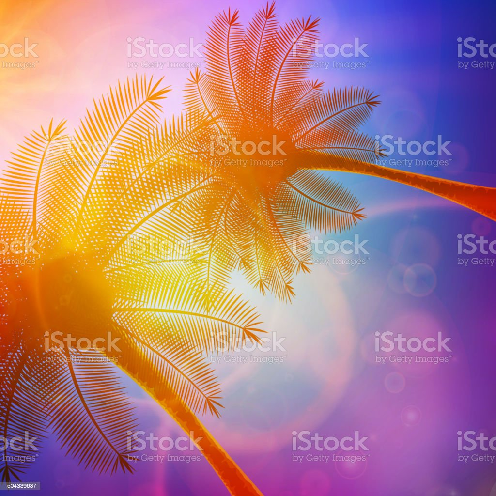 Palm trees with beautiful sunset. royalty-free stock vector art