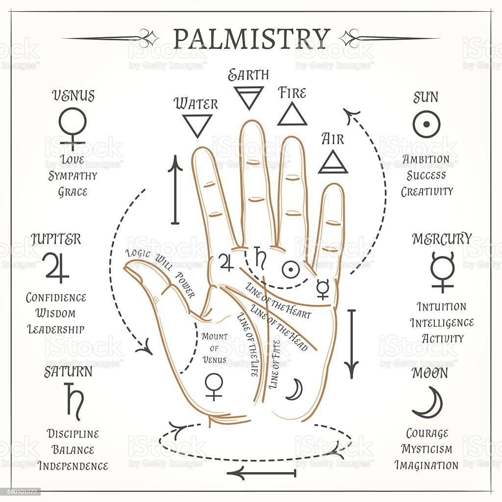 Palmistry mystical reading vector illustration vector art illustration