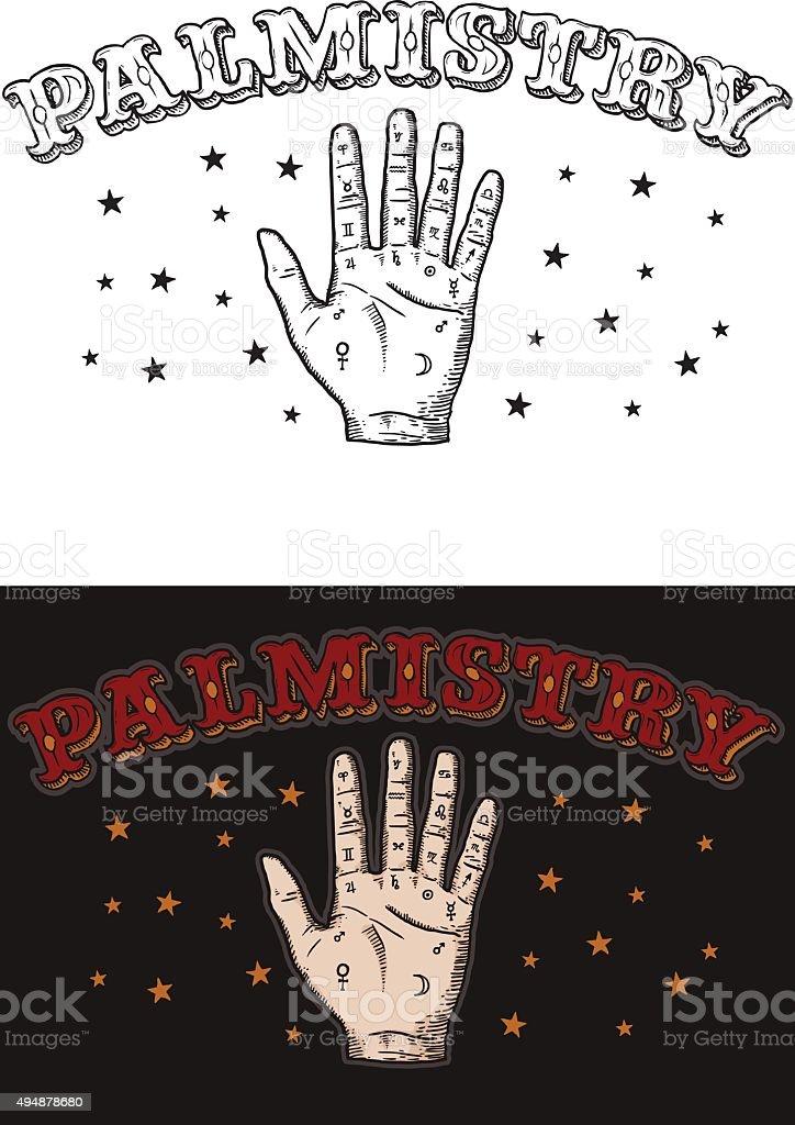 Palmistry vector art illustration