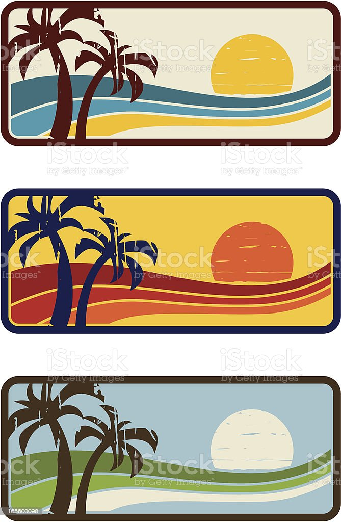 palms anda wave banner royalty-free stock vector art