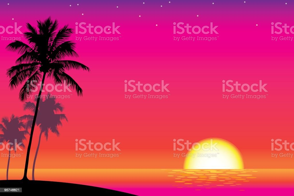 Palms in the Sunset vector art illustration
