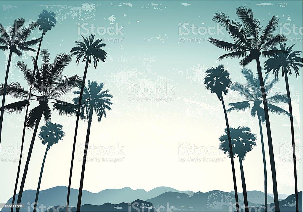 Palms landscape vector art illustration