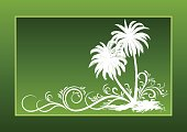 Palms Silhouettes and Floral Pattern