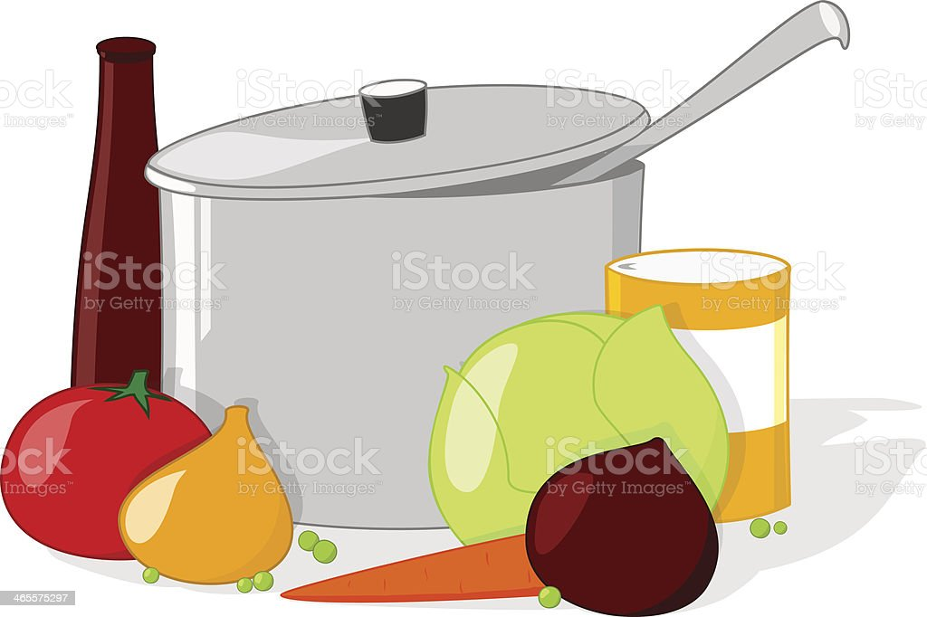 Pan and vegetables with kitchen accessories. royalty-free stock vector art