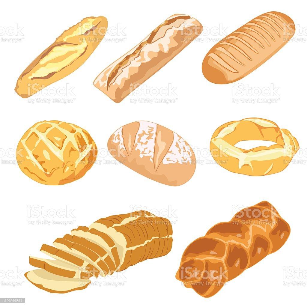 Pan, hogazas y roscas vector art illustration