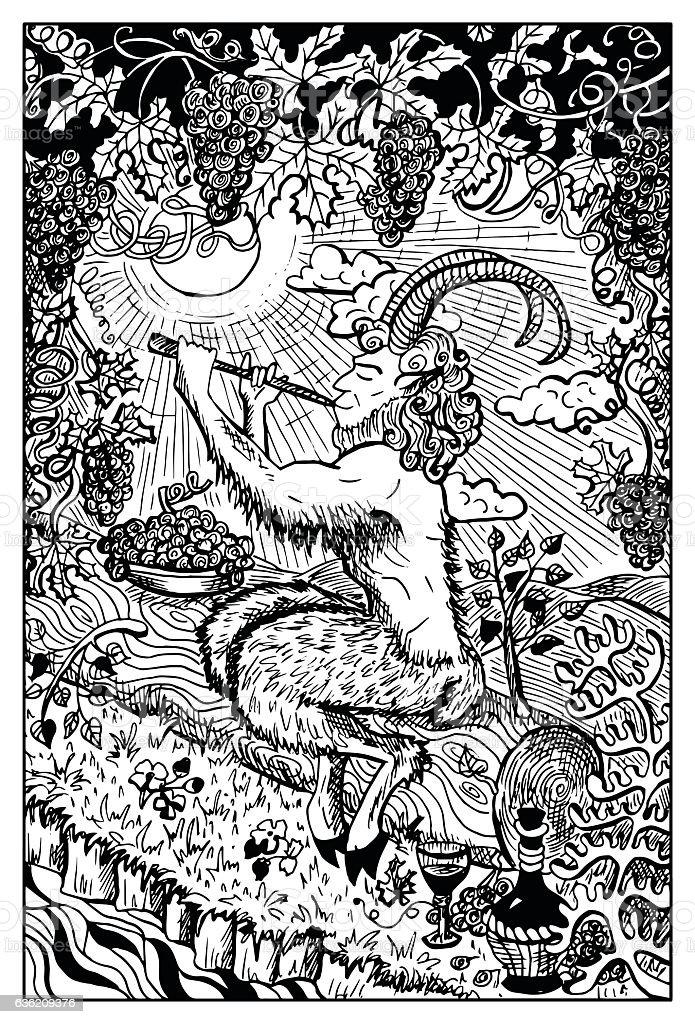 Pan, Satyr or Faunus vector art illustration