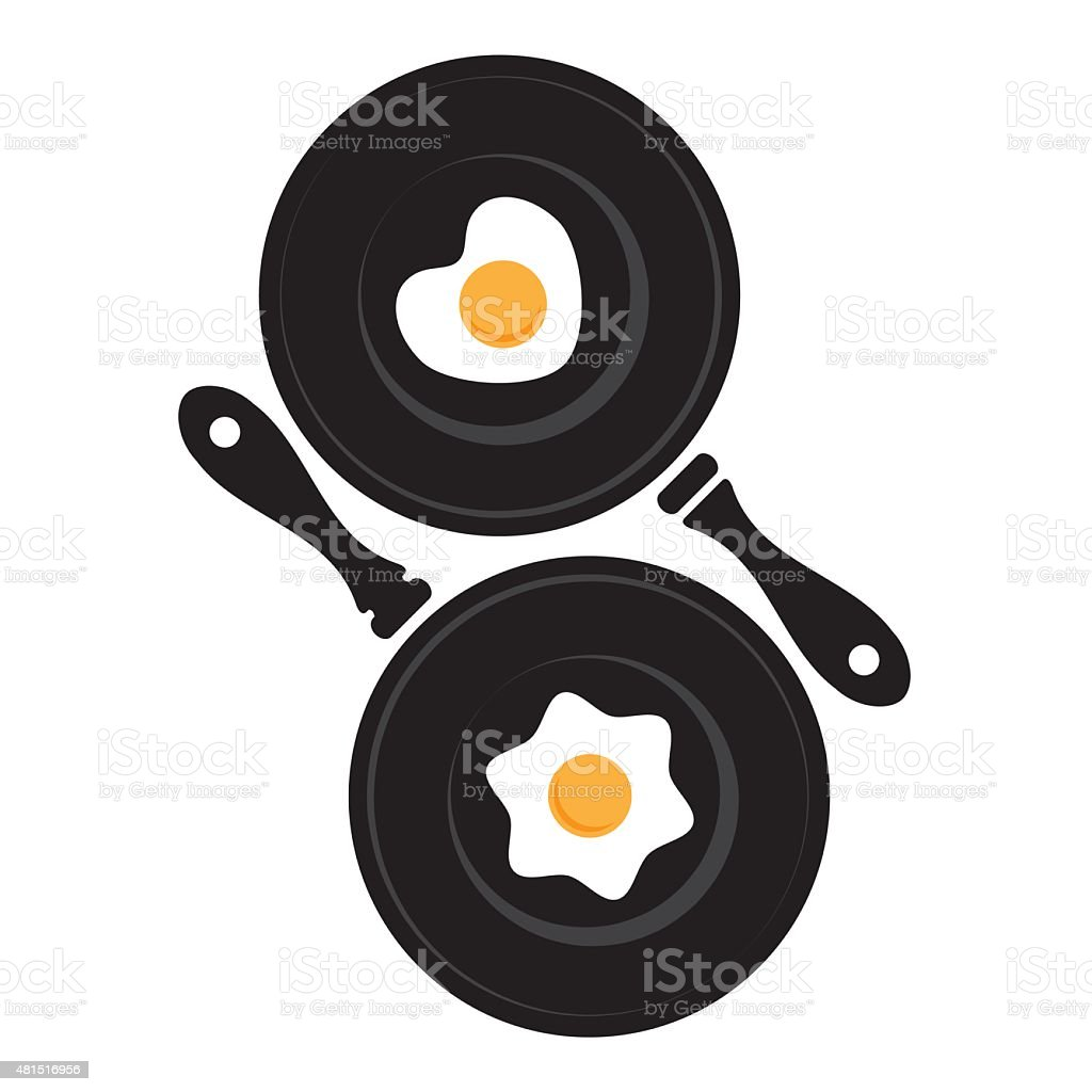 Pan with fried egg vector art illustration