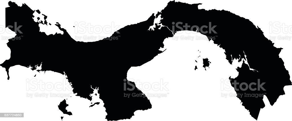 Panama black map on white background vector vector art illustration