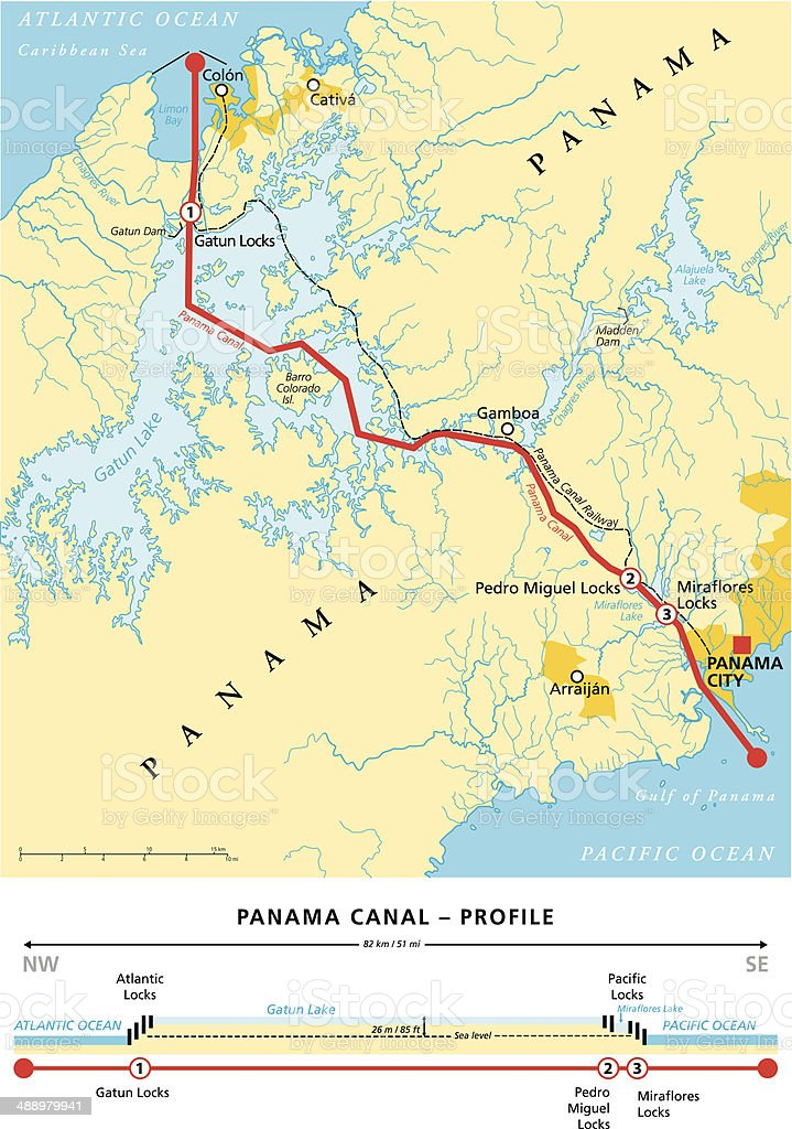 Panama Canal Political Map vector art illustration