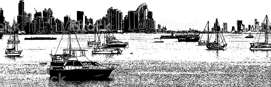 Panama City Skyline and Sailboats vector art illustration