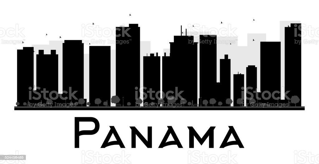 Panama City skyline black and white silhouette vector art illustration