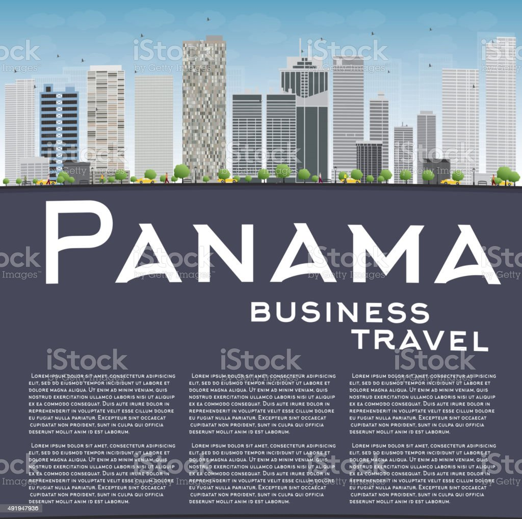Panama City skyline with grey skyscrapers and blue sky vector art illustration