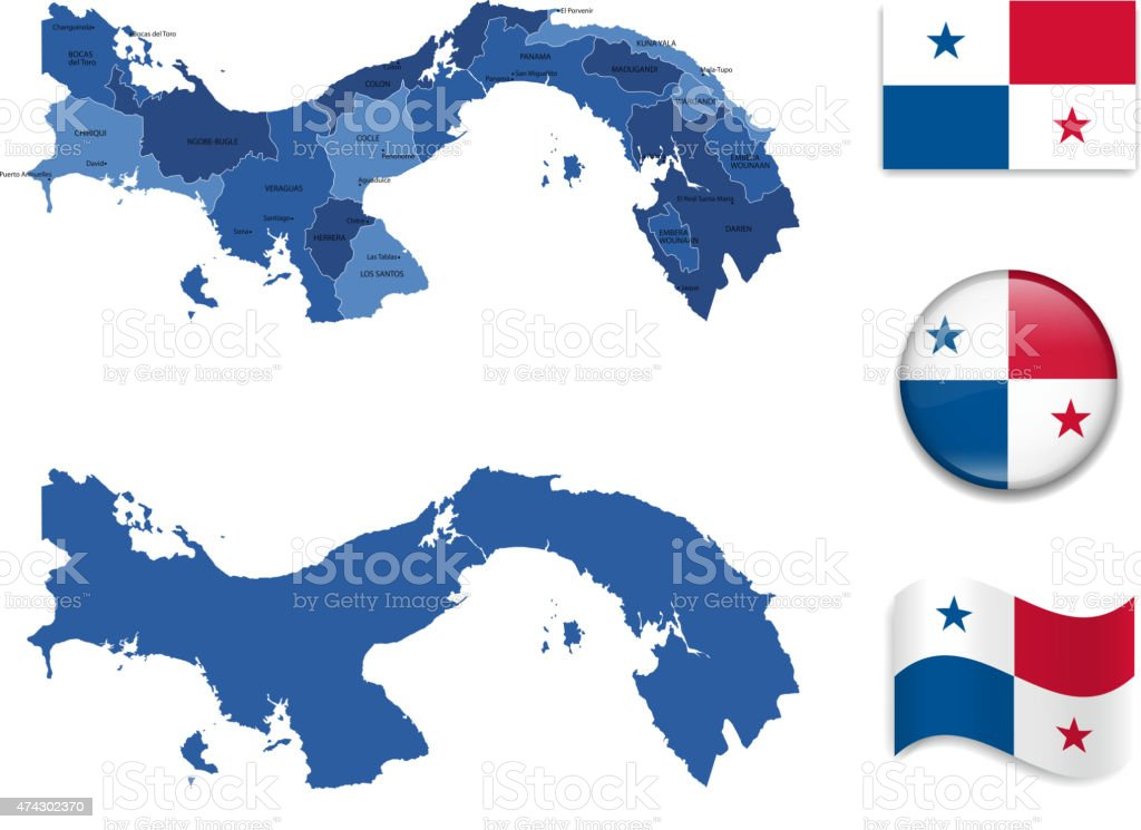 Panama Map and Flag Collection vector art illustration