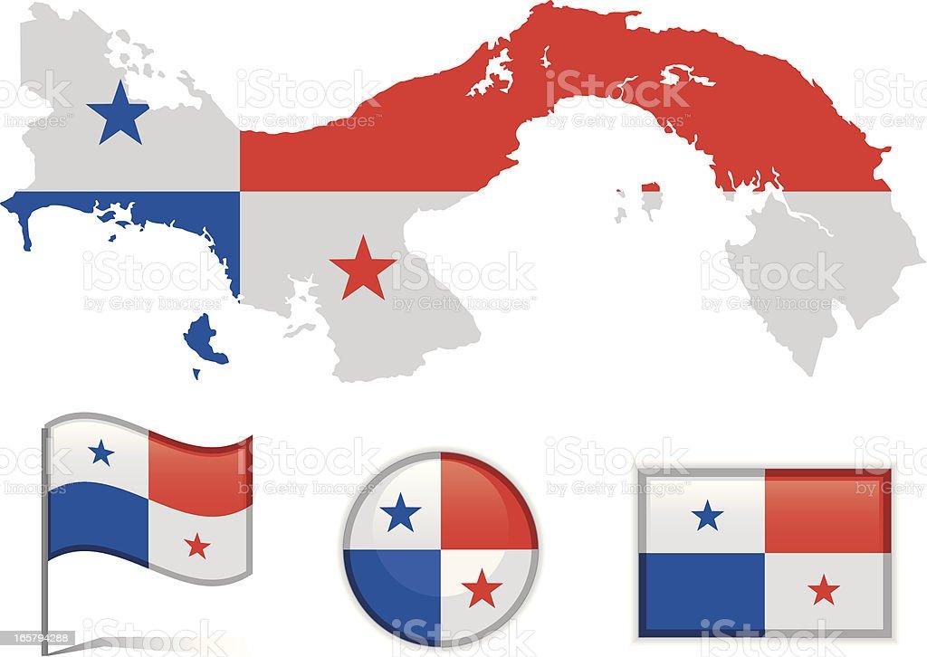 Panama map & flag royalty-free stock vector art