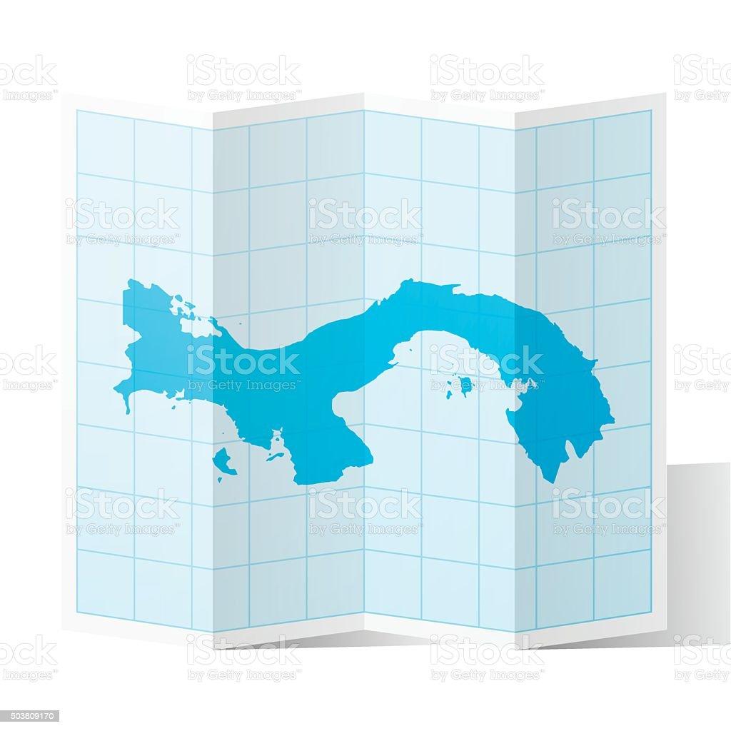 Panama Map folded, isolated on white Background vector art illustration