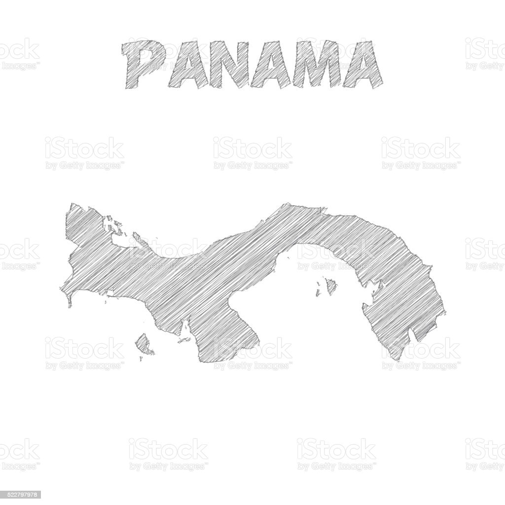 Panama map hand drawn on white background vector art illustration