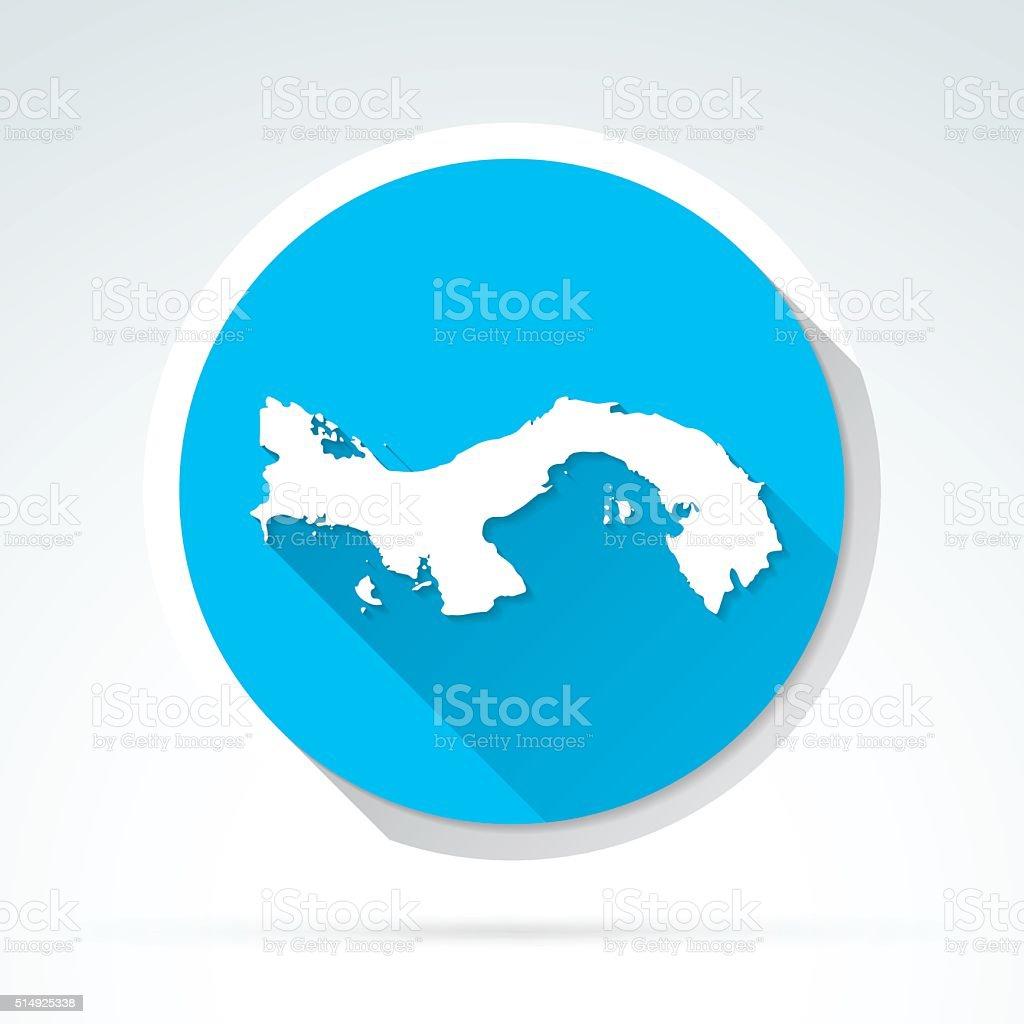 Panama map icon, Flat Design, Long Shadow vector art illustration