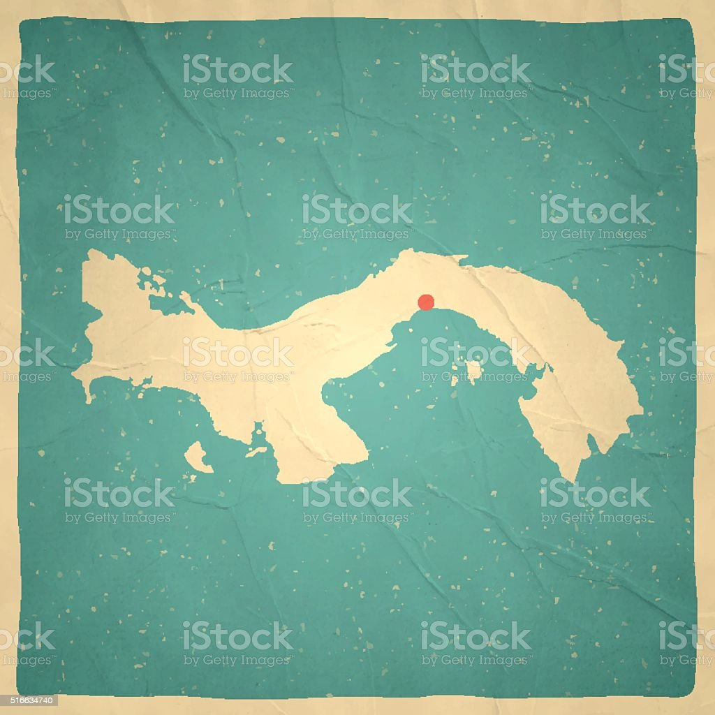 Panama Map on old paper - vintage texture vector art illustration