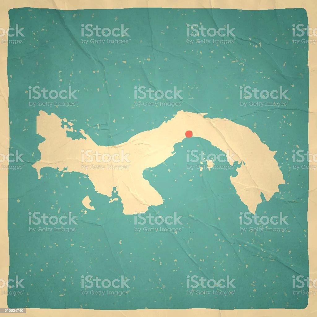 Panama Map on old paper - vintage texture vector art illustration