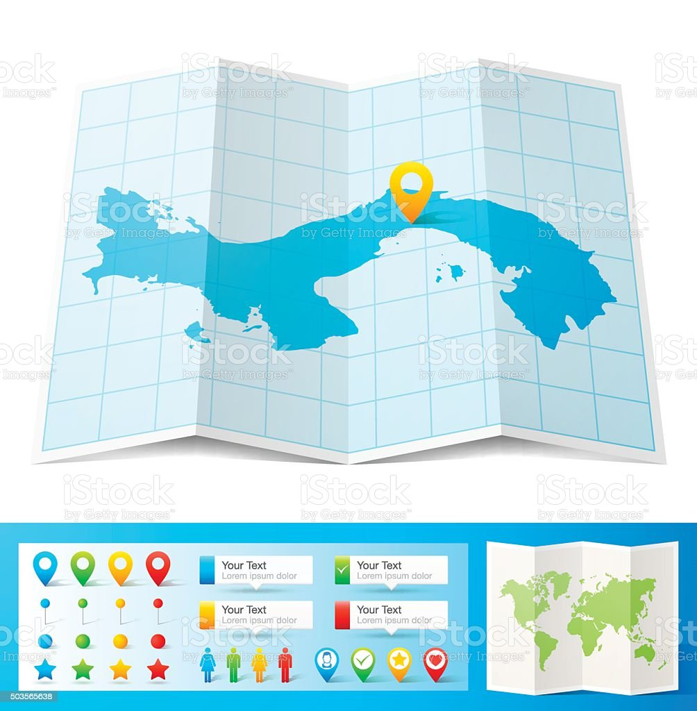 Panama Map with location pins isolated on white Background vector art illustration