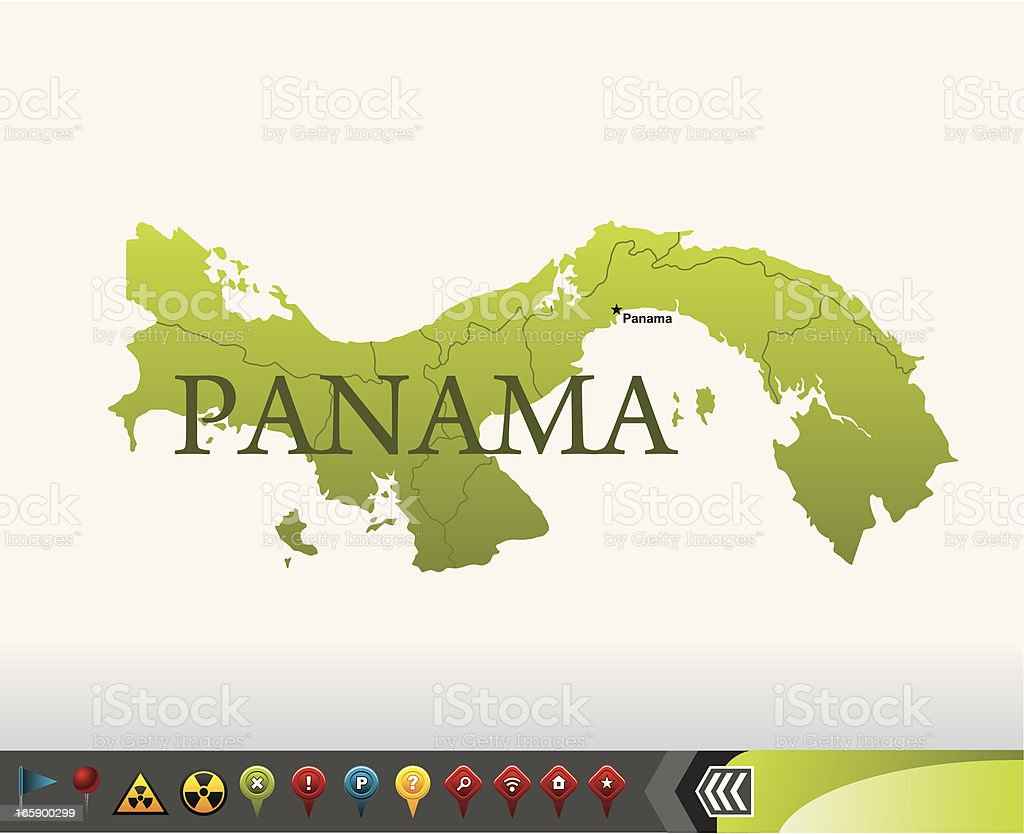 Panama map with navigation icons royalty-free stock vector art
