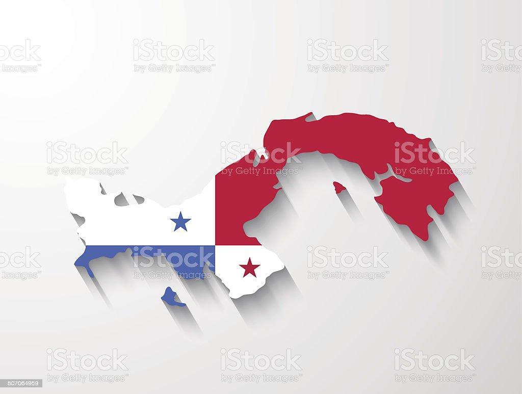 Panama map with shadow effect presentation vector art illustration