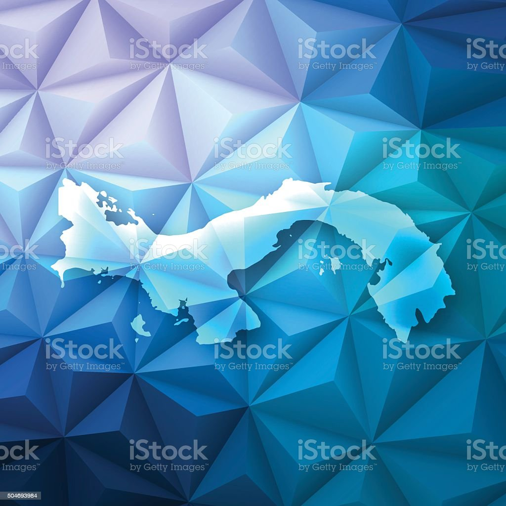 Panama on Abstract Polygonal Background - Low Poly, Geometric vector art illustration