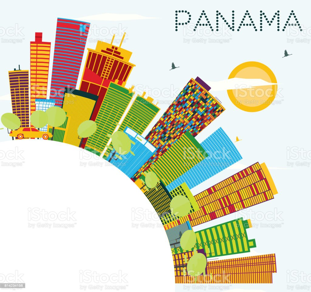Outline athens skyline with blue buildings and copy space stock vector - Panama Skyline With Color Buildings Blue Sky And Copy Space Royalty Free Stock