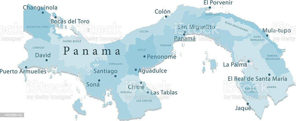 Panama Vector Map Regions Isolated vector art illustration