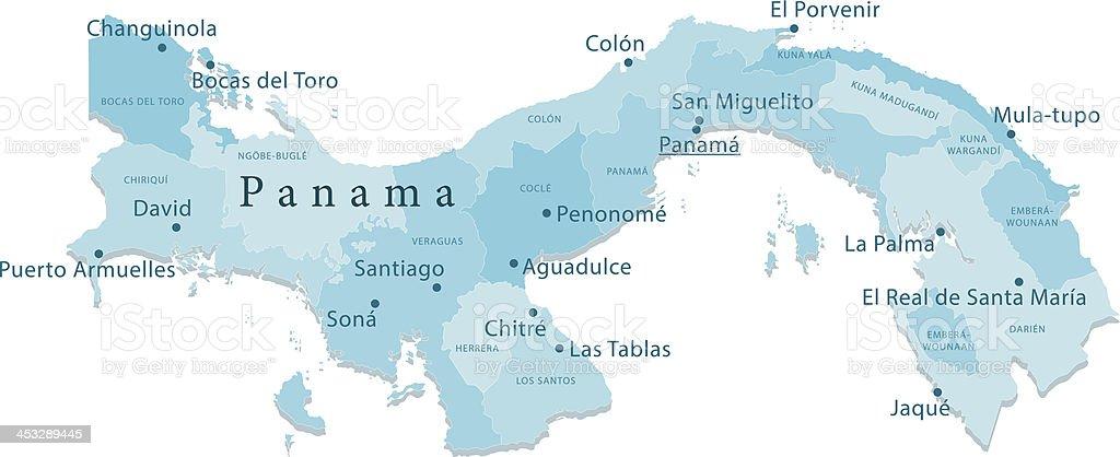 Panama Vector Map Regions Isolated vector art illustration