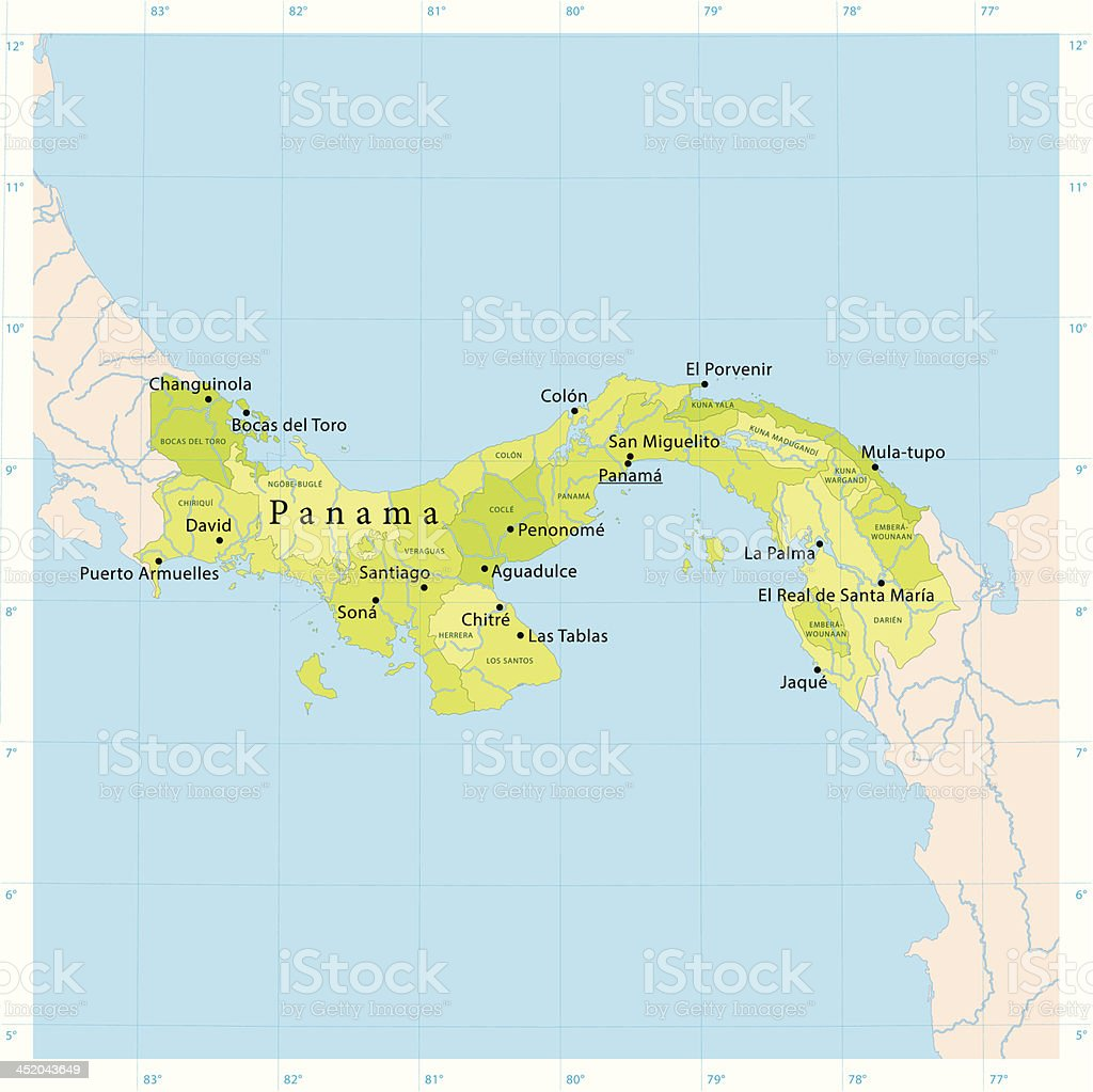 Panama Vector Map vector art illustration