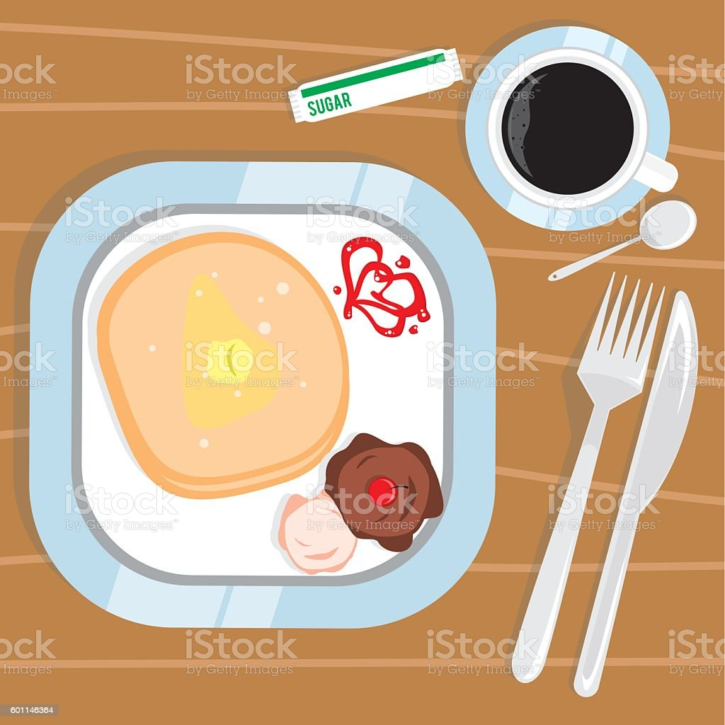 Pancake and Black Coffee vector art illustration