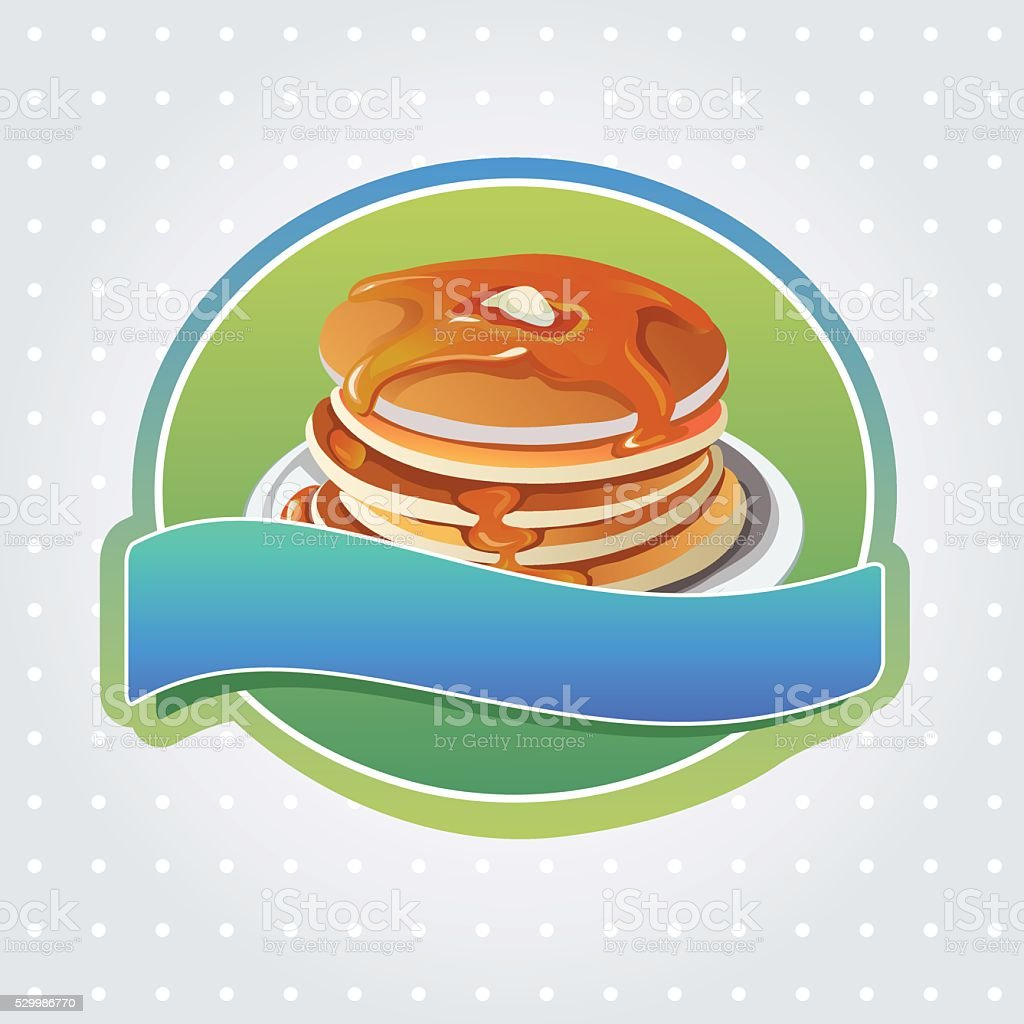 pancake label vector art illustration