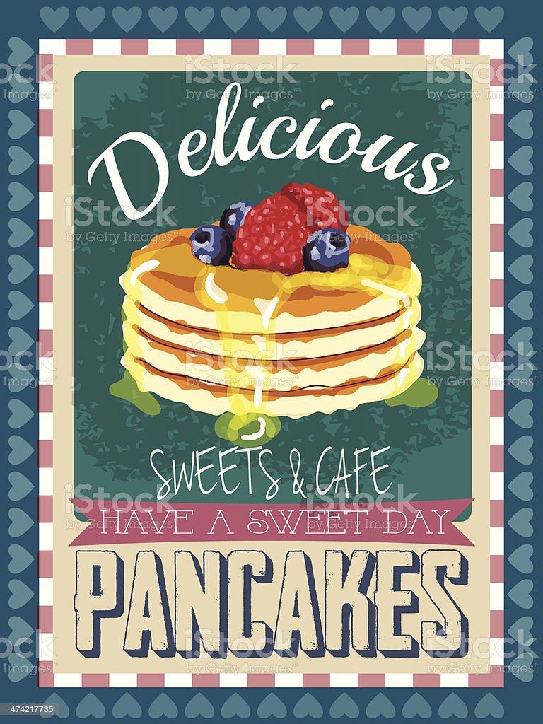 Pancake vintage poster vector art illustration